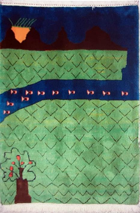 گبه بافته شده از نقاشی محسن قبادی 9 ساله