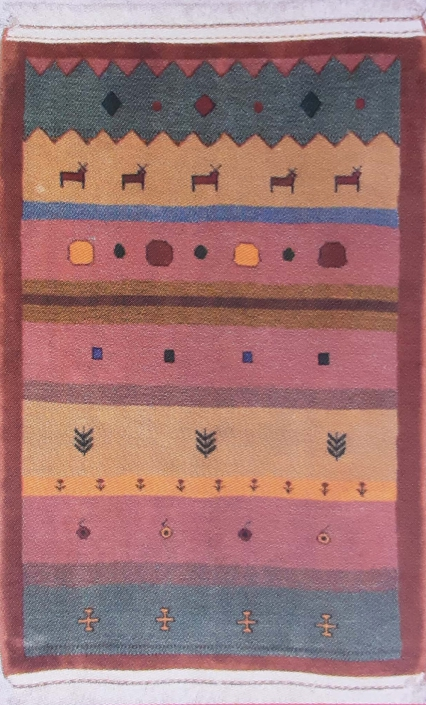 گبه بافته شده از نقاشی آرزو جبلی 9 ساله